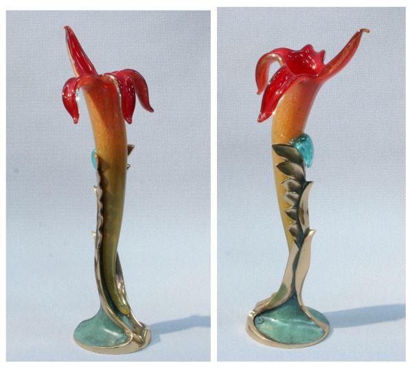 ブロンズとベネチアングラスの花器 Ve422